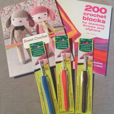 Crochet hooks and crochet books