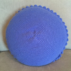 Crochet blooming flower cushion reverse