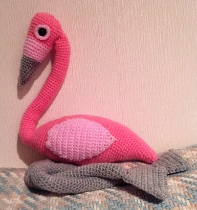 Crochet flamingo