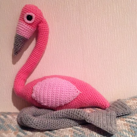 Crochet flamingo