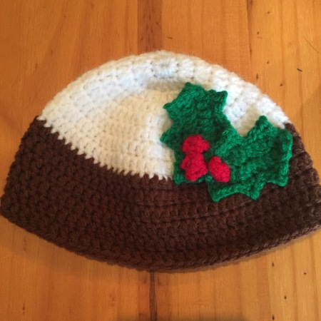 Christmas pudding crochet baby hat