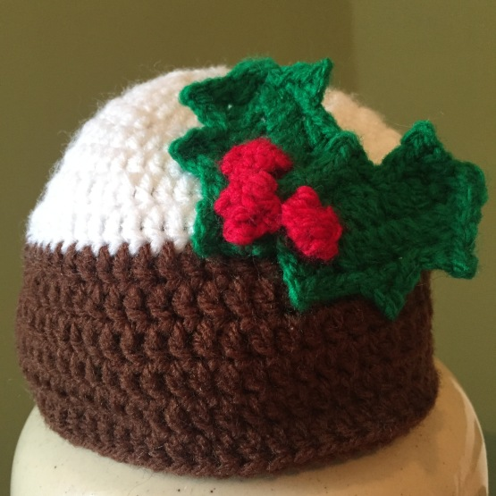 Crochet Christmas pudding baby hat