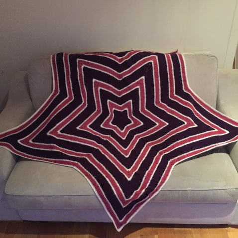 Crochet star blanket purple and pink