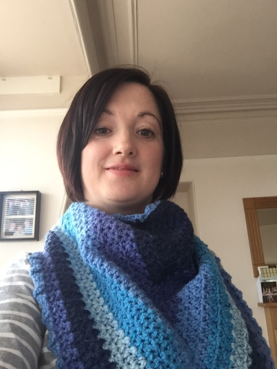 V stitch crochet scarf using Caron Cake