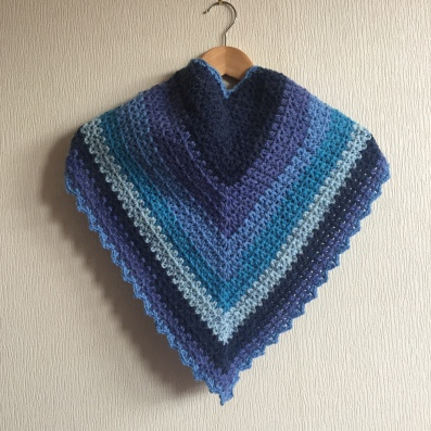 Crochet scarf made using v stich and Caron Cake