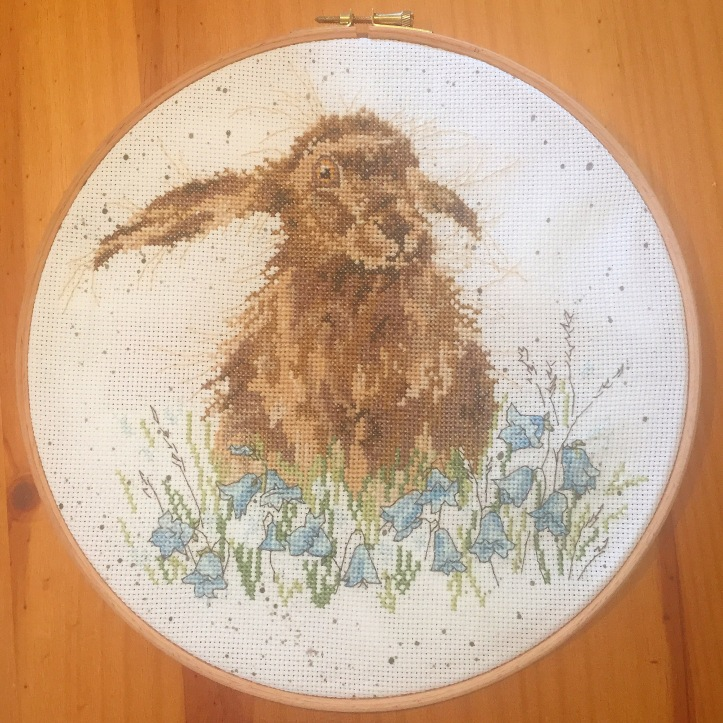 Bright eyes hare cross stitch