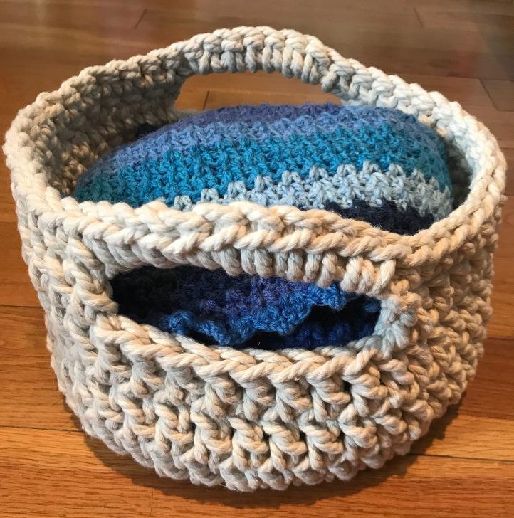 Completed crochet basket