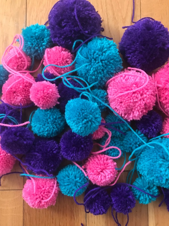purple, blue and pink pompoms