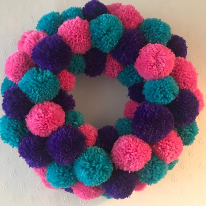 handmade pompom wreath