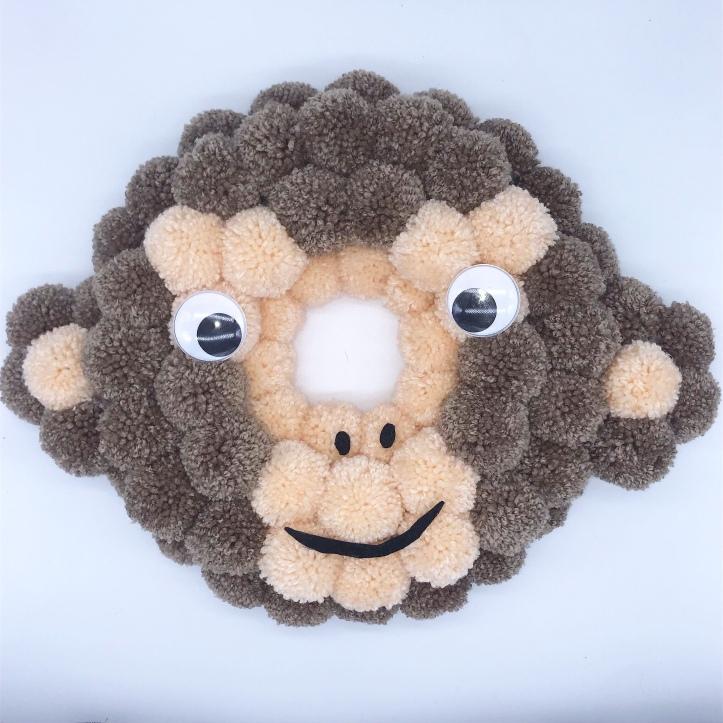 Monkey pompom wreath