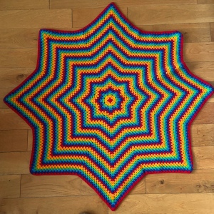 Finished granny stitch star blanket rainbow colours