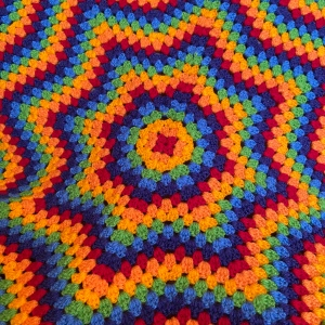 Close up of granny star crochet blanket