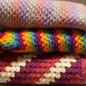 Three  granny stitch crochet blankets