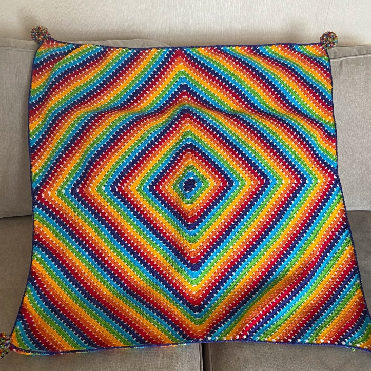 Granny diamante crochet blanket in rainbow colours