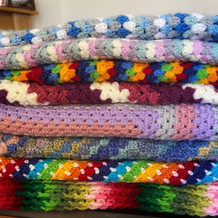 Completed crochet blankets